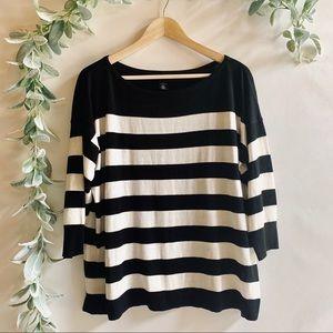 WHBM | Black & White Stripped Long Sleeve